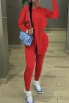 Red Fashion Casual Solid Asymmetrical Hooded Collar Long Sleeve Two Pieces