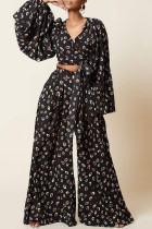 Black Brown Fashion Casual Print Bandage V Neck Long Sleeve Two Pieces
