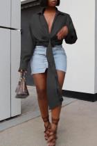 Black Fashion Casual Solid Bandage Turndown Collar Tops