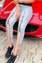Light Blue Street Solid Split Joint Frenulum Slit High Waist Skinny Denim Jeans
