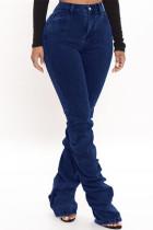 Dark Blue Fashion Casual Solid Fold High Waist Regular Denim Jeans