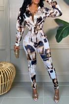 White Fashion Casual Print Basic Turndown Collar Long Sleeve Two Pieces