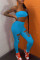 Blue Sexy Casual Solid Bandage Hollowed Out Strapless Sleeveless Two Pieces