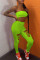Fluorescent Green Sexy Casual Solid Bandage Hollowed Out Strapless Sleeveless Two Pieces