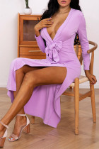 Purple Sexy Solid Split Joint High Opening With Bow V Neck Straight Dresses