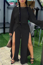 Black Fashion Casual Solid Split Joint Slit O Neck Long Sleeve Two Pieces