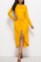 Yellow Casual Solid Split Joint Fold Asymmetrical O Neck Straight Dresses