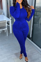 Blue Casual Solid Split Joint Fold O Neck Long Sleeve Two Pieces