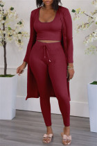 Burgundy Fashion Casual Solid Cardigan Vests Pants U Neck Long Sleeve Two Pieces