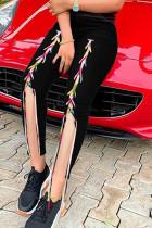 Black Street Solid Split Joint Frenulum Slit High Waist Skinny Denim Jeans