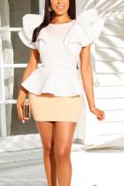 White Sexy Fashion Ruffled Irregular Evening Skirt Two Pieces Set