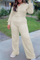 Cream White Casual Solid Split Joint Buckle Turndown Collar Plus Size Jumpsuits