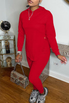 Red Fashion Solid Slit Hooded Collar Long Sleeve Two Pieces