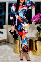 Black Fashion Casual Print Basic O Neck Long Sleeve Dresses