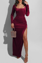 Burgundy Fashion Sexy Solid Slit Square Collar Long Sleeve Dresses