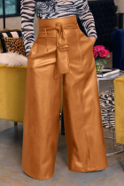 Brown Casual Solid Split Joint Loose High Waist Wide Leg Solid Color Bottoms