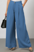 Blue Casual Elegant Solid Split Joint Fold Straight Wide Leg Solid Color Bottoms