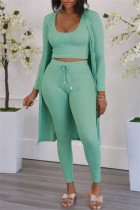Grass Green Fashion Casual Solid Cardigan Vests Pants U Neck Long Sleeve Two Pieces