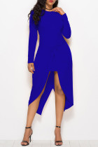 Blue Casual Solid Split Joint Fold Asymmetrical O Neck Straight Dresses