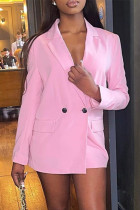 Pink Pre-sale Fashion Casual Solid Cardigan Turndown Collar Outerwear
