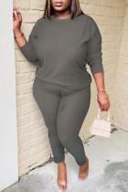 Dark Gray Casual Solid Split Joint O Neck Long Sleeve Two Pieces