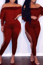 Burgundy Fashion Casual Solid Hollowed Out Off the Shoulder Long Sleeve Two Pieces