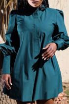 Blue Pre-sale Fashion Casual Solid Basic O Neck Long Sleeve Dresses