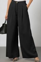 Black Casual Elegant Solid Split Joint Fold Straight Wide Leg Solid Color Bottoms