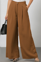 Khaki Casual Elegant Solid Split Joint Fold Straight Wide Leg Solid Color Bottoms