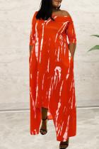 Red Fashion Casual Print Asymmetrical O Neck Long Sleeve Dresses