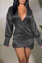 Black Sexy Solid Split Joint Asymmetrical V Neck One Step Skirt Dresses