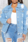 Blue Casual Solid Ripped Long Sleeve Straight Denim Jacket