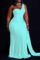 Blue Casual Solid Split Joint One Shoulder Trumpet Mermaid Dresses