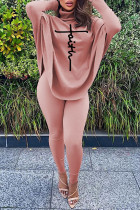 Pink Casual Letter Print Asymmetrical Turtleneck Long Sleeve Two Pieces