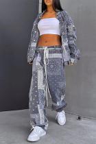 Grey Fashion Casual Print Cardigan Pants Turndown Collar Long Sleeve Two Pieces