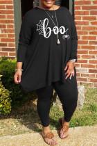 Black Fashion Casual Print Basic O Neck Plus Size Two Pieces