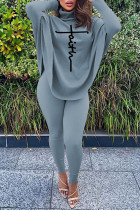 Grey Casual Letter Print Asymmetrical Turtleneck Long Sleeve Two Pieces