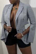 Black White Fashion Casual Print Slit Cardigan Turndown Collar Outerwear