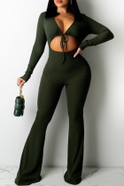 Green Sexy Casual Solid Bandage Hollowed Out V Neck Regular Jumpsuits