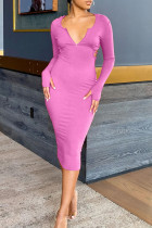 Rose Pink Sexy Solid Split Joint Backless Hooded Collar One Step Skirt Dresses