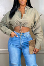 Gray Green Casual Solid Split Joint Buckle Turndown Collar Tops