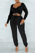 Black Sexy Solid Split Joint Draw String Fold Square Collar Long Sleeve Two Pieces