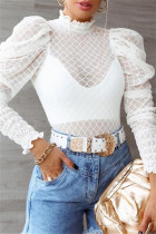 White Fashion Sexy Solid See-through Turtleneck Tops