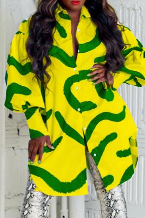 Yellow Fashion Casual Print Basic Turndown Collar Long Sleeve  Shirt Dress