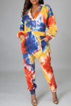 Multicolor Fashion Casual Print Tie Dye Pocket V Neck Regular Jumpsuits