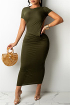 Olive Green Fashion Sexy Solid Backless O Neck Short Sleeve Irregular Dress