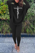 Black Casual Letter Print Asymmetrical Turtleneck Long Sleeve Two Pieces