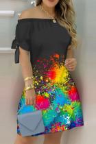 Black Fashion Casual Print Bandage Off the Shoulder Short Sleeve Dress
