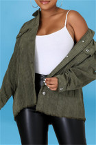 Ink Green Fashion Casual Solid Split Joint Turndown Collar Outerwear