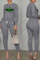Dark Gray Casual Print Split Joint Fold O Neck Long Sleeve Two Pieces